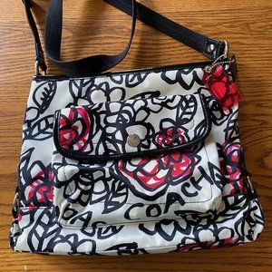 Coach white crossbody with red and pink flowers